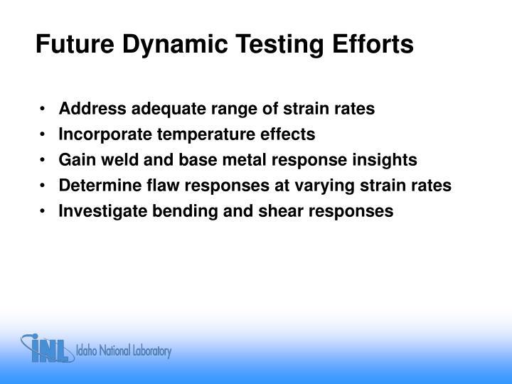Future Dynamic Testing Efforts