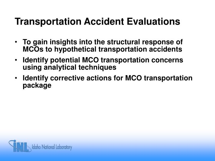Transportation Accident Evaluations