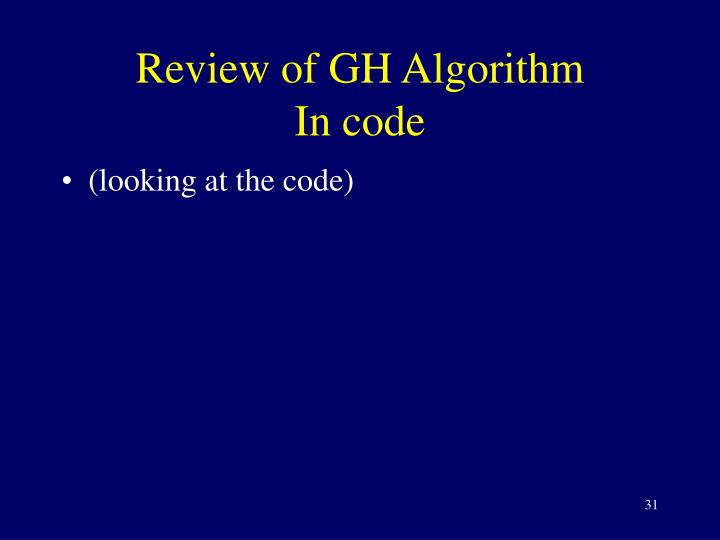Review of GH Algorithm