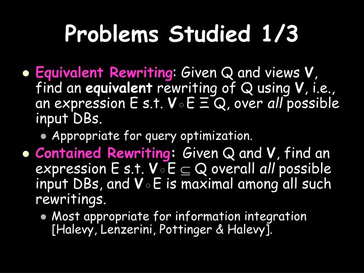 Problems Studied 1/3