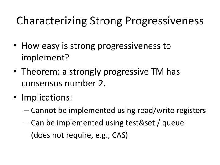 Characterizing Strong Progressiveness