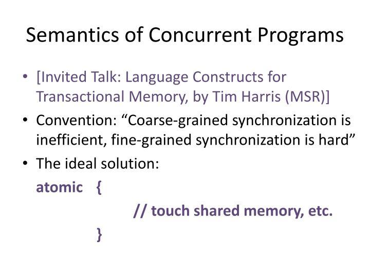 Semantics of Concurrent Programs