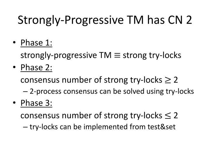 Strongly-Progressive TM has CN 2