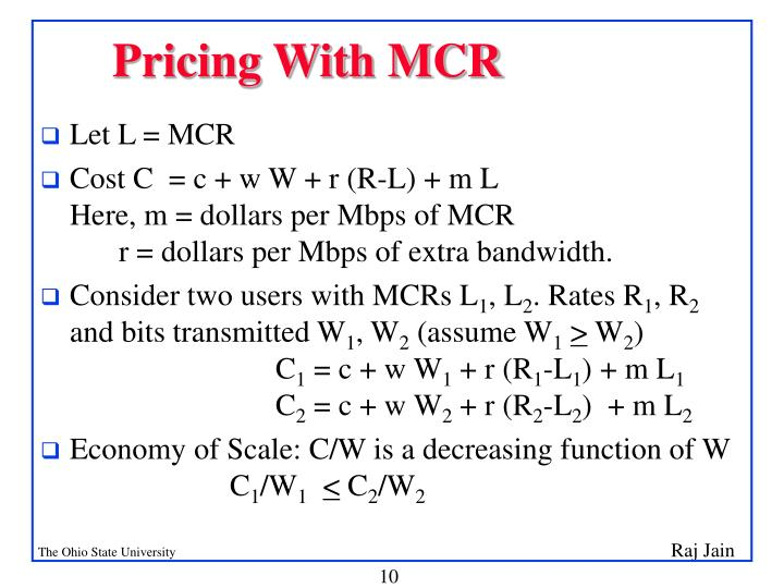 Pricing With MCR