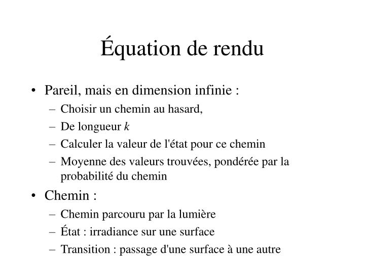 Équation de rendu