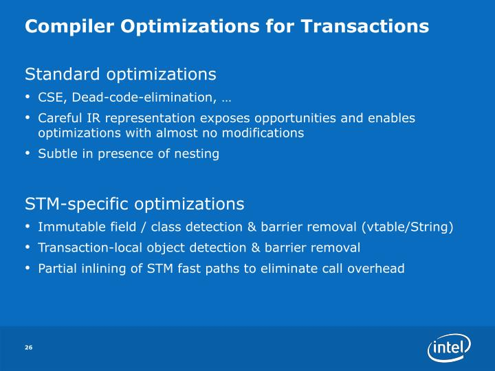 Compiler Optimizations for Transactions