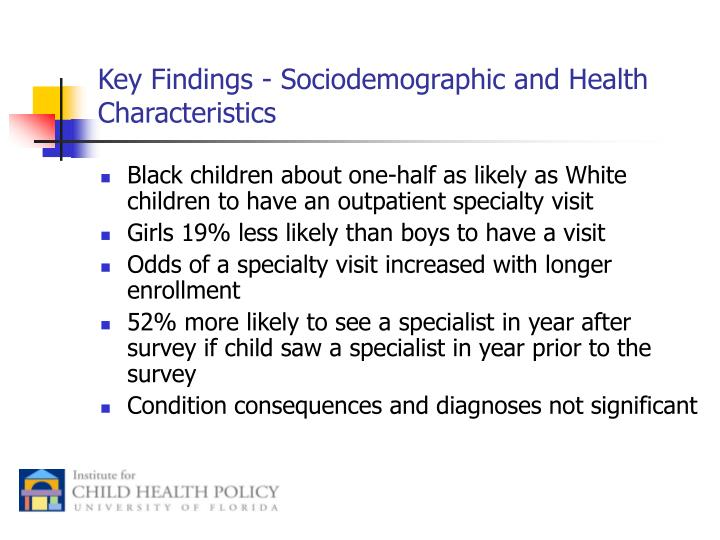 Key Findings - Sociodemographic and Health Characteristics
