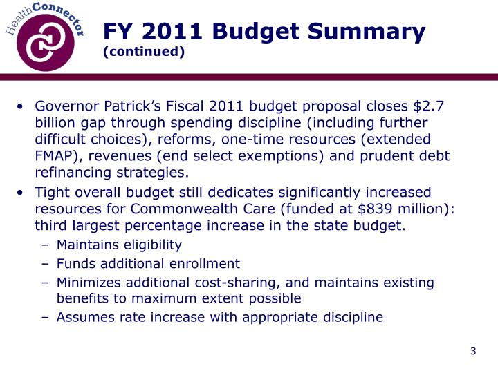 FY 2011 Budget Summary