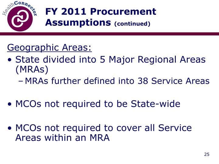 FY 2011 Procurement Assumptions