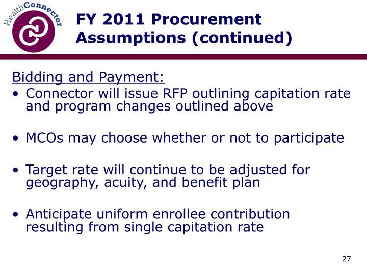 FY 2011 Procurement Assumptions (continued)