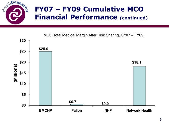 FY07 – FY09 Cumulative MCO Financial Performance