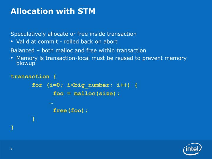Allocation with STM