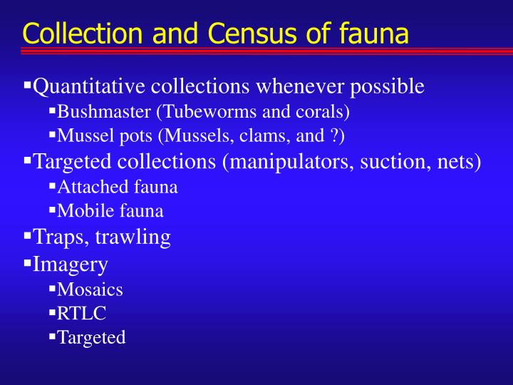 Collection and Census of fauna