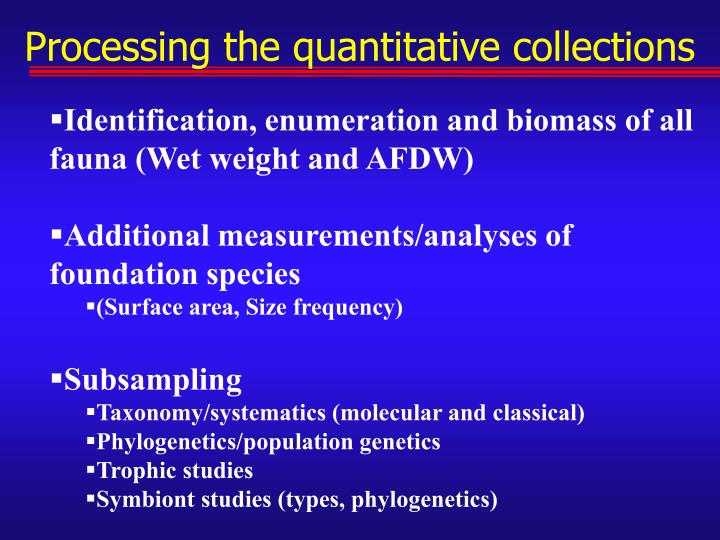 Processing the quantitative collections