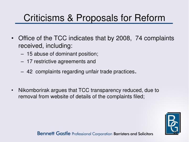 Criticisms & Proposals for Reform