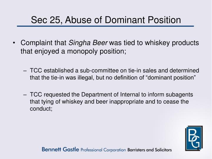 Sec 25, Abuse of Dominant Position