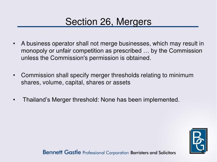 Section 26, Mergers
