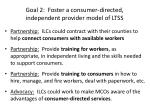 goal 2 foster a consumer directed independent provider model of ltss
