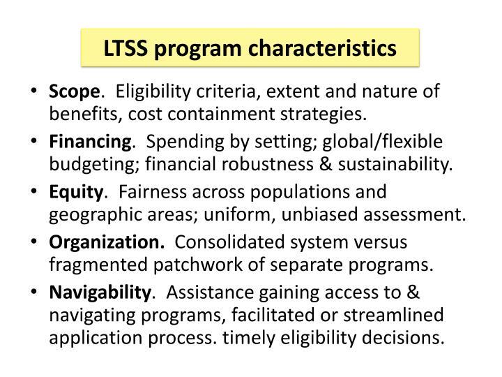 LTSS program characteristics