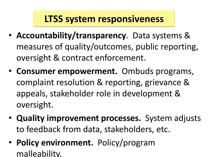 LTSS system responsiveness