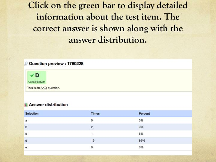 Click on the green bar to display detailed information about the test item. The correct answer is shown along with the answer distribution.