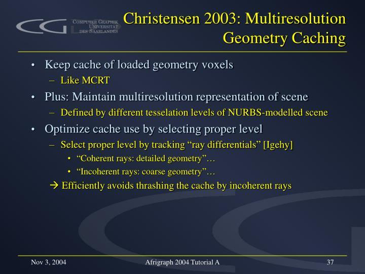 Christensen 2003: Multiresolution Geometry Caching