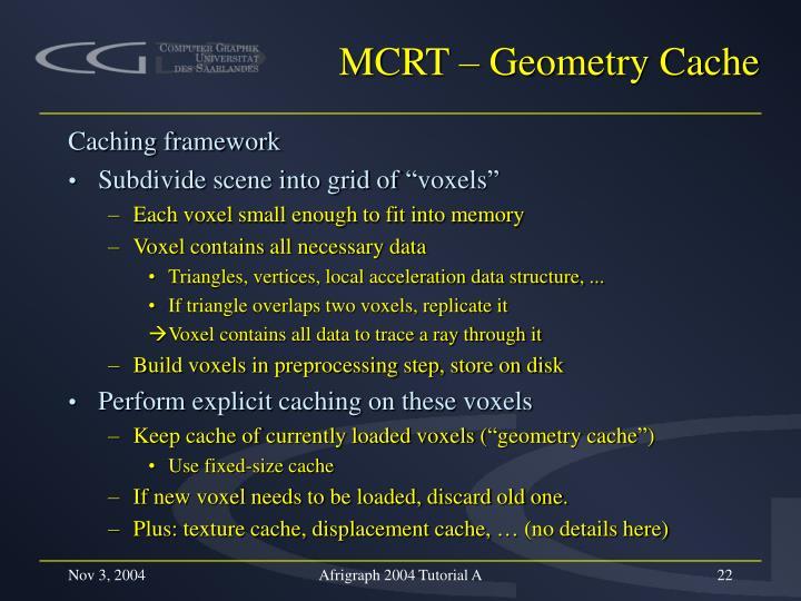 MCRT – Geometry Cache