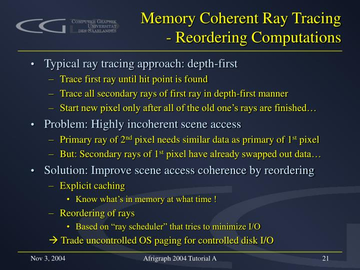 Memory Coherent Ray Tracing