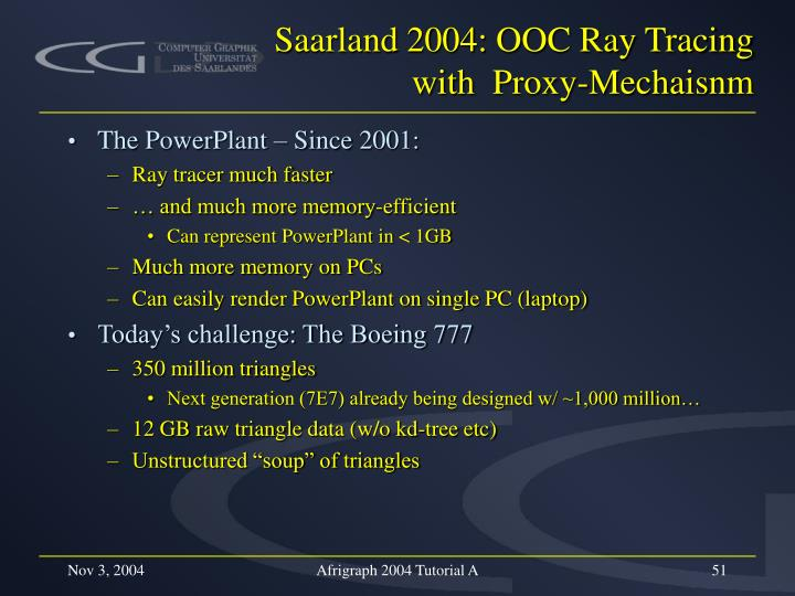 Saarland 2004: OOC Ray Tracing with  Proxy-Mechaisnm