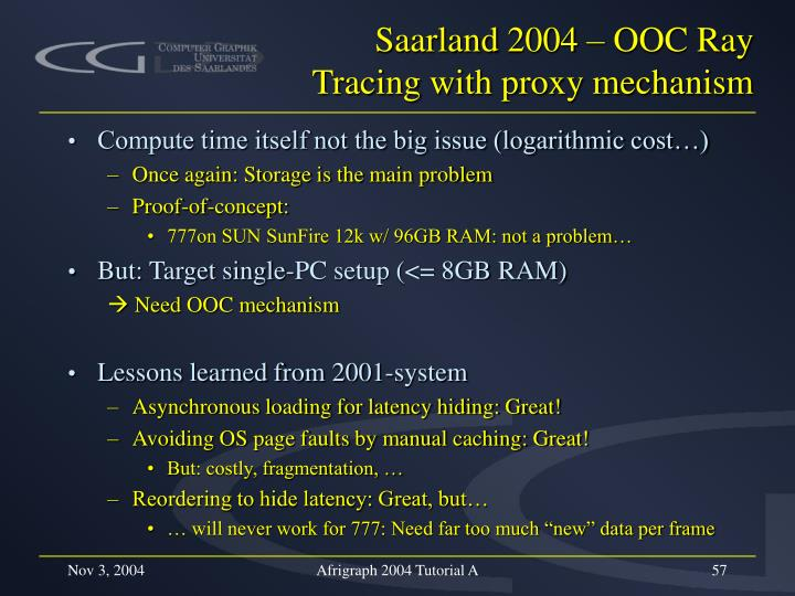 Saarland 2004 – OOC Ray Tracing with proxy mechanism