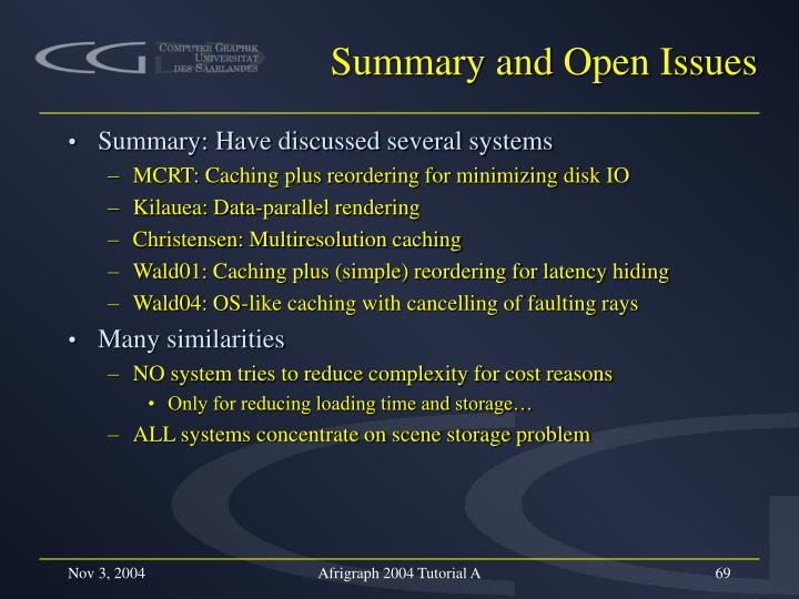 Summary and Open Issues