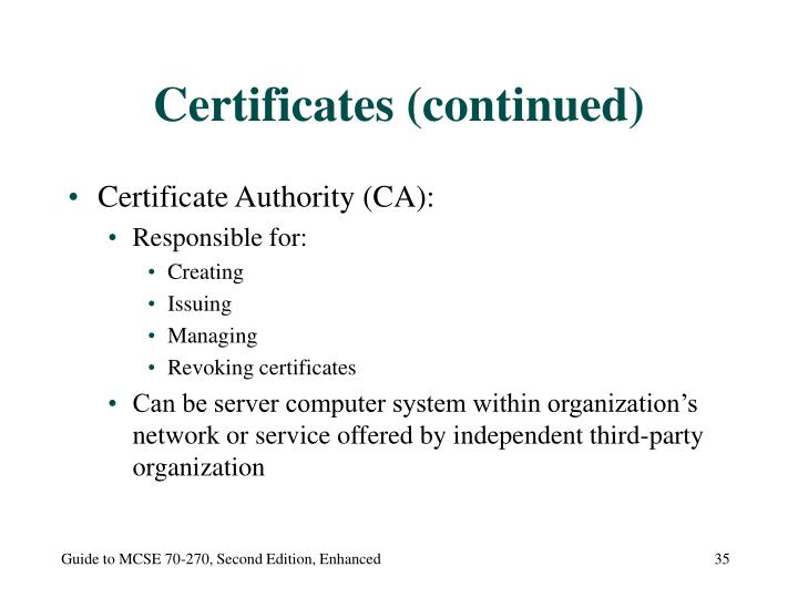 Certificates (continued)