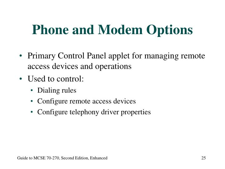 Phone and Modem Options