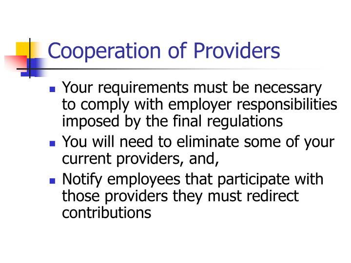 Cooperation of Providers