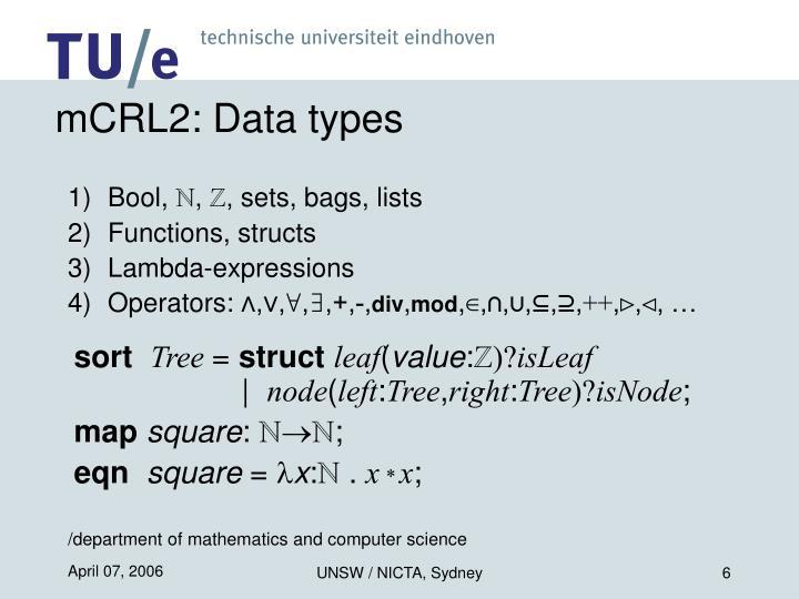 mCRL2: Data types