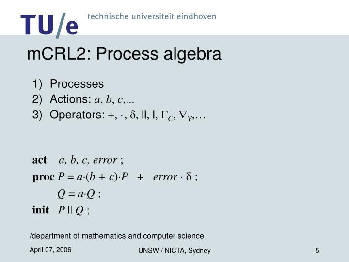 mCRL2: Process algebra