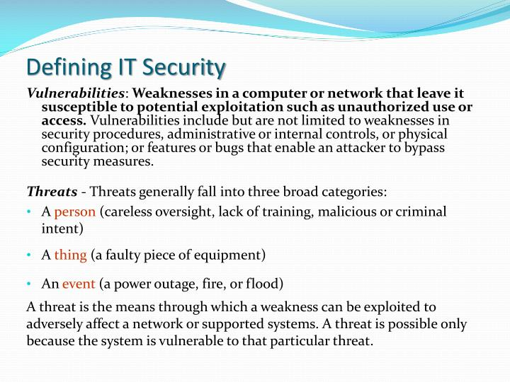 Defining IT Security