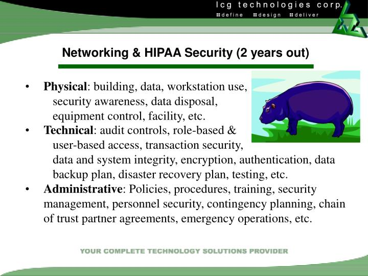 Networking & HIPAA Security (2 years out)