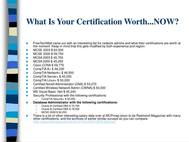 What Is Your Certification Worth...NOW?