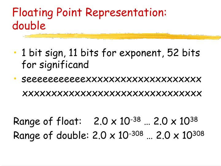 Floating Point Representation: double