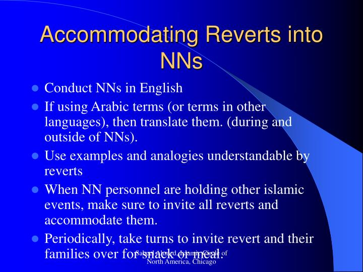 Accommodating Reverts into NNs