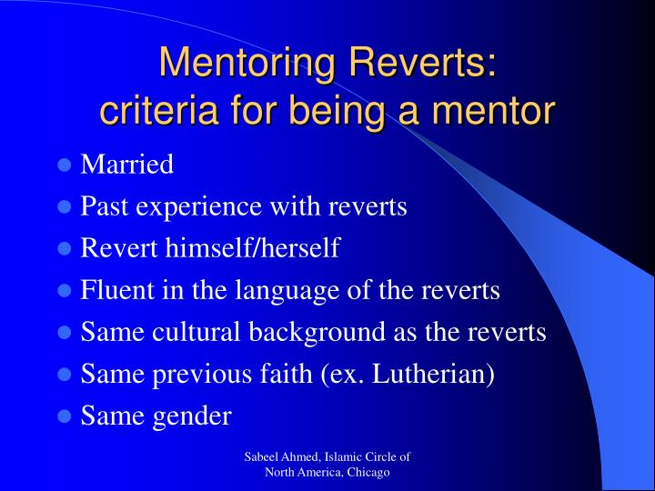 Mentoring Reverts: