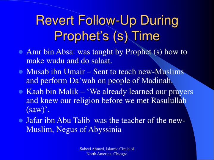 Revert Follow-Up During Prophet's (s) Time