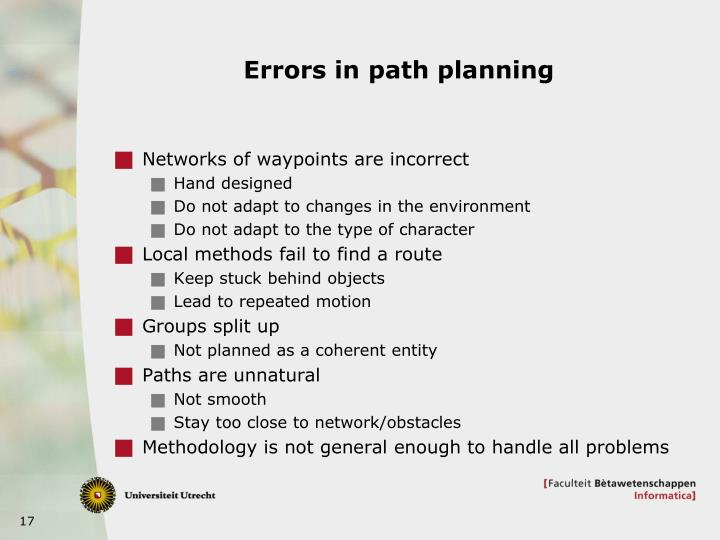 Errors in path planning