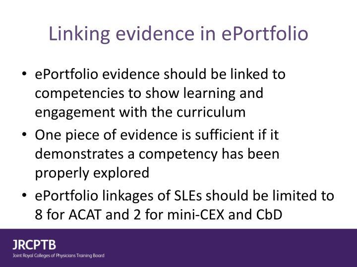 Linking evidence in ePortfolio