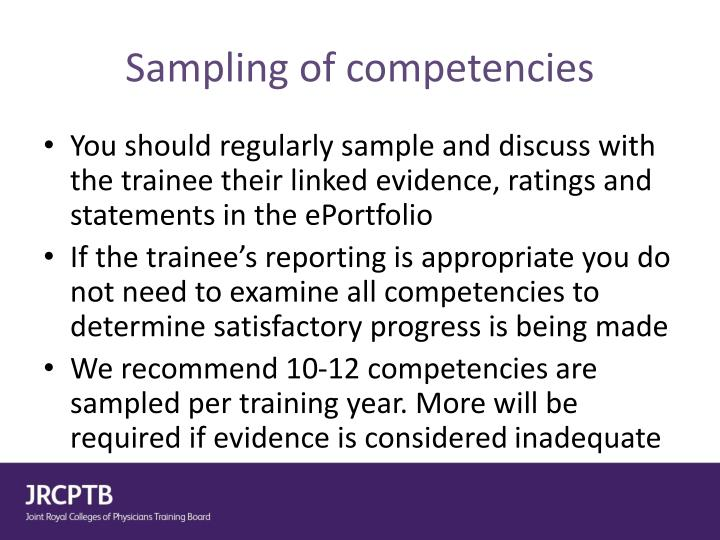 Sampling of competencies