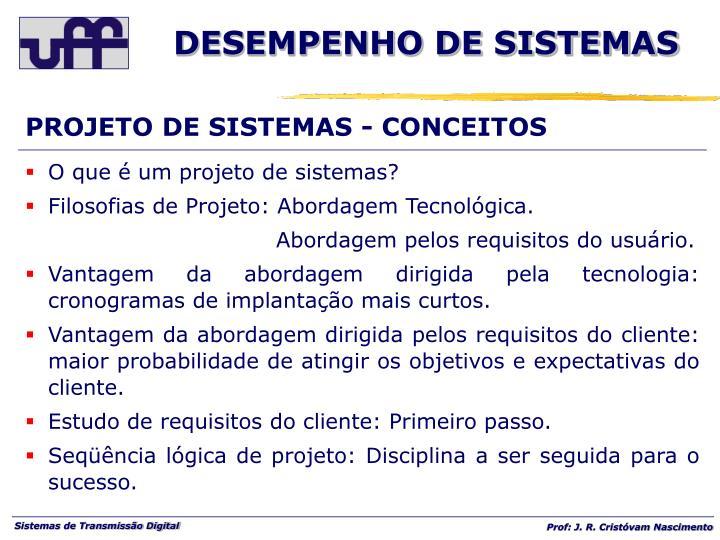 PROJETO DE SISTEMAS - CONCEITOS