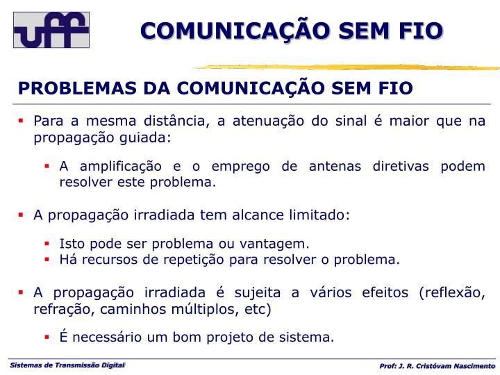 PROBLEMAS DA COMUNICAÇÃO SEM FIO