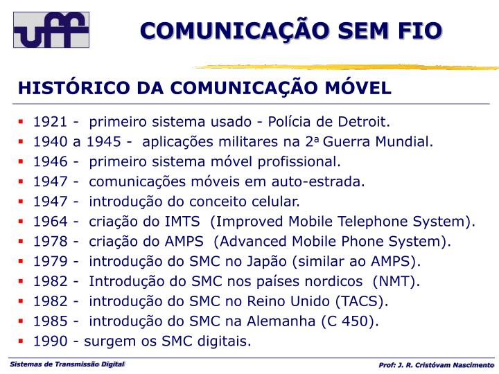 HISTÓRICO DA COMUNICAÇÃO MÓVEL