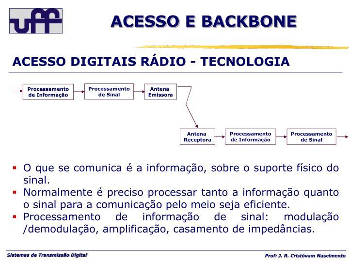 ACESSO DIGITAIS RÁDIO - TECNOLOGIA